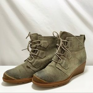 Sorel Toronto Olive Green/Gray Suede Wedge Boot